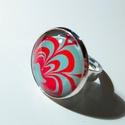 Piros-menta üveglencsés gyűrű, Ékszer, Gyűrű, Enyhén csillámos menta és piros/málna színű watermarble technikával készült üveglencsés gyűrű ezüst ..., Meska