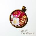 Cseresznyevirágos, antik bronz medál, Ékszer, Medál, Nagyon szép, japán cseresznyefavirágos medál.  Az üveglencse 25mm-es, a medál teljes mérete k..., Meska