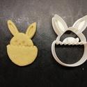 Húsvéti (tojásos nyuszi) keksz, sütemény kiszúró forma, Otthon & lakás, Egyéb, Konyhafelszerelés, Húsvéti díszek, Ünnepi dekoráció, Dekoráció, 3D nyomtatással készült húsvéti (tojásos nyuszi) kekszkiszúró. Legnagyobb mérete kb. 6 cm.  Személye..., Meska