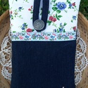 Kék virágos- madárkás tablet tok, Sötétkék farmer és tarka virágmintás, ragasz...