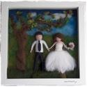 Nemezelt esküvői kép 3D-s keretben , Esküvő, Otthon & lakás, Nászajándék, Lakberendezés, Falikép, A nemezelt figurákat nem csak akasztós, vagy függős változatban kérheted, hanem mélyített, úgyneveze..., Meska