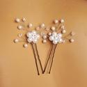 Virágos hajtű esküvőre, Ékszer, Esküvő, Esküvői ékszer, Hajdísz, ruhadísz, Ékszerkészítés, Gyöngyfűzés, 6 és 4 mm-es tekla gyöngyök, víztiszta kristályok felhasználásával készült hajdísz. A virág kb. 1,5..., Meska