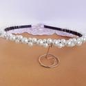 Gyöngyös tiara, hajráf ,  8, 6, 4 mm-es üveg tekla gyöngyökkel díszíte...