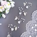Menyasszonyi virágos, leveles hajfüzér, Esküvő, Ékszer, Hajdísz, ruhadísz, Apró virágok, kis gyöngyök, és kristályok felhasználásával készült ez a hajdísz, ezüst színű ékszerd..., Meska