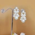 Gyöngyös fülbevaló, Ékszer, Esküvő, Fülbevaló, Esküvői ékszer, Fehér 10, 6 és 4 mm-es üveg tekla gyöngyökből, és 5 mm-es strassz kristállyal készült fül..., Meska