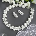 Vénusz csillogása, Ékszer, Esküvő, Ékszerszett, Esküvői ékszer,  Fehér 10, 6 és 4 mm-es üveg tekla gyöngyökkel, és 5 mm-es strassz kristályokkal készült sz..., Meska