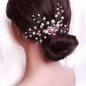 Strasszos menyasszonyi hajdísz, Esküvő, Hajdísz, ruhadísz, 4 cm-es fém alapra készült hajdísz, kristály virággal. Szélessége kb. 14 cm, magassága 8 cm, alakíth..., Meska