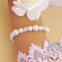 Csillogó menyasszonyi karkötő, 10 és 8 mm-es fehér tekla gyöngyök, gyöngykup...