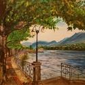 Tóparti sétány, Képzőművészet, Festmény, Akril, 50x50 cm-es vékony feszített vászonra, akrillal. A feszítőkeret oldalán a vászon be van festv..., Meska