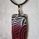Egyedi, modern ékszergyurma nyaklánc, Ékszer, Nyaklánc, Medálos nyaklánc, Gyurma, Festett tárgyak, Ékszergyurmából készítettem ezt az egyedi, modern nyakláncot. A minta akril festékkel készült. A lá..., Meska