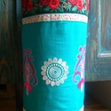 Hímzett hengerpárna - rózsaszín/türkiz/ezüst/bordó/beige, Dekoráció, Otthon, lakberendezés, Lakástextil, Párna, Eredeti, Indiából rendelt hímzésekből megalkotott párna, csodaszép élénk színekkel, sok kézi öltésse..., Meska