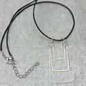 Három részes medál ezüstözött drótból, Ékszer, Medál, Három részes egyszerű medál geometriai formákkal., Meska