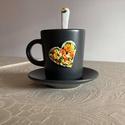Sárga rózsás kávéskészlet kanállal, Otthon & Lakás, Konyhafelszerelés, Bögre & Csésze, Gyurma, Sárga rózsás kávéskészlet kanállal garnitúra. A garnitúra 1 db 9 cl kávéscsészéből+aljból (szürke) ..., Meska
