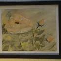 Rózsa, Képzőművészet, Festmény, Pasztell, Akril, Festészet, A festmény A/4-es méretű vászonra, akrillal festve, 2cm-es sötétbarna fa keretben elhelyezve.  Pasz..., Meska