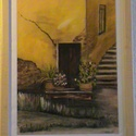 Máltai utcácska, Képzőművészet, Festmény, Akril, Festészet, A festmény 25x35 cm-es festőkartonra, akrillal festve, 2 cm-es bükk fa keretben elhelyezve. Fóleg a..., Meska