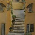 Olasz utcácska, Képzőművészet, Festmény, Akril, Festészet, A festmény A/4 -es méretű akril festőkartonra, ecsettel, akril festékekkel készült, 2 cm-es bükk sz..., Meska