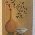 Csendélet, Képzőművészet, Festmény, Akril, Festészet, A festmény 30 x 40 cm-es feszített vászonra készült, akril festékkel. Szándékosan nincs keretben. A..., Meska