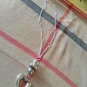 Ezüst színű hosszú nyaklánc medéllal, Ékszer, Karkötő, Ezüst színű, hosszú divatos nyaklánc szív medállal., Meska