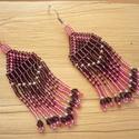 lila-rózsaszín lógós gyöngy fülbevaló, ajándék, Ékszer, óra, Karkötő, Fülbevaló, Nyaklánc, Lila-rózsaszín ezüst közepű gyöngyökből készült fülbevaló.  Lila kristálygyönggyel díszítettem.  Tel..., Meska