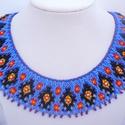 indián népi gyöngynyaklánc, gyöngygallér, ajándék, Ékszer, Ékszerszett, Nyaklánc, Az amerikai indián kultúra ihlette ezt a szép nyakláncot, melyet hagyományos színkombinációval, sok ..., Meska