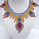 Egyiptomi stílusú gyöngynyaklánc, Egyiptom királynője nyaklánc, Kleopátra nyaklánc, , Ékszer, Ruha, divat, cipő, Nyaklánc, Ékszerszett, Gyöngyfűzés, Egyiptomi színvilág ihlette meg ezt a nyakláncot, melyben viselője Kleopátrának érezheti magát.  An..., Meska