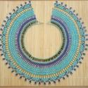 """""""Egyiptom"""" nyaklánc, gyöngyékszer, gyöngy nyaklánc, ajándék nőknek, Ékszer, óra, Ruha, divat, cipő, Nyaklánc, Női ruha, Gyöngyfűzés, Feltűnő, széles nyaklánc, melyet Egyiptom színei ihlettek.  A kék árnyalatai, arany és fekete színe..., Meska"""
