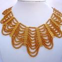 """""""arany hullám"""" arany színű alkalmi gyöngynyaklánc, gyöngyékszer, Meska, Ékszer, Nyaklánc, Ékszerszett, Gyöngyfűzés, Csodaszép nyaklánc!  Arany színben pompázik ez a szép nyakék. Szebb, mint egy valódi arany nyaklánc..., Meska"""
