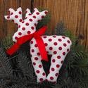 Rénszarvas , Dekoráció, Karácsonyi, adventi apróságok, Karácsonyi dekoráció, Ünnepi dekoráció, Karácsonyi dekoráció , cuki rénszarvas nyakában szalaggal magassága 22 cm háta szélessége 9..., Meska