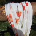 Pamut körsál , Ruha, divat, cipő, Kendő, sál, sapka, kesztyű, Sál, Pamut körsál . hossza körbe mérve 140 cm szélessége 36 cm barnás , narancssárgás virágok d..., Meska