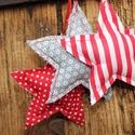 Csillag , dekoráció, Dekoráció, Karácsonyi, adventi apróságok, Ünnepi dekoráció, Ajándékkísérő, képeslap, Karácsonyfadísz, Karácsonyi dekoráció, Varrás, 3 db karácsonyi dekorációs csillag , egyszerűen körbevarrva , tömőanyaggal tömve . szélessége 11 cm..., Meska