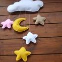 """"""" Jó éjt!"""" függődísz felhővel, holddal és csillagokkal, Baba-mama-gyerek, Dekoráció, Gyerekszoba, Mobildísz, függődísz, Varrás, Baba-és bábkészítés, """" Jó éjt!"""" Függődísz babaszobába, felhővel, holddal és csillagokkal. Anyaga filc, töltet műszálas f..., Meska"""