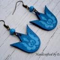 Kék Matyó fülbevaló, A népi mintás fa alapra készítettem,akrillal f...