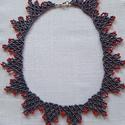Hematit-piros színű nyaklánc, Ékszer, Nyaklánc, Gyöngyös nyaklác, Gyöngyfűzés, gyöngyhímzés, Cseh kásagyöngyből  és csiszolt gyöngyből készült nyaklánc.Hossza 43cm , szélessége 2,5 cm.Ünnepi é..., Meska