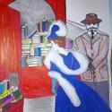 """""""Kék ruhás hölgy a könyvek között"""" , Dekoráció, Képzőművészet, Grafika, Rajz,  Filctollal kék ruhás hölgyet rajzoltam.  A környezet intenzív színei vonzzák a tekinteteket ..., Meska"""