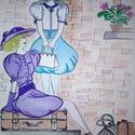 """""""Várkozó barátnők"""" , Képzőművészet, Grafika, Rajz, Fotó, grafika, rajz, illusztráció, Filctollal két elegáns hölgyet rajzoltam. A ruhák bohókásan romantikusak és intenzív színekben pomp..., Meska"""