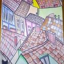 """""""Háztetők"""" , Képzőművészet, Grafika, Rajz,  Filctollal háztetőket rajzoltam.  Sokszínűségében meleg hangulatot áraszt.   Famentes rajzla..., Meska"""