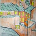 """""""Zöld háztetők"""" , Képzőművészet, Grafika, Rajz, Fotó, grafika, rajz, illusztráció,  Filctollal zöld háztetőket rajzoltam.  Sárgán pislákoló ablakok meghitt hangulatot  adnak.   Famen..., Meska"""