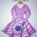 Szőke hölgyike, Képzőművészet, Grafika, Rajz,  Filctollal szőke hölgyikét rajzoltam vidám    rózsaszínű ruhában.   Famentes rajzlapra kés..., Meska
