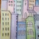 Színes házak c. rajzom, Képzőművészet, Grafika, Rajz, Fotó, grafika, rajz, illusztráció,  Színes ceruzával házakat rajzoltam.  A rajz különlegesség hogy a színek túlnyulnak  a kontúr vonal..., Meska