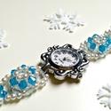 Kék menyasszonyi óra, Kék esküvői óra, Ékszer, óra, Esküvő, Karóra, óra, Esküvői ékszer, Ékszerkészítés, Gyöngyfűzés, Kék menyasszonyi óra, Kék esküvői óra  Az órát nagy odafigyeléssel készítettem el. Törekedtem arra,..., Meska