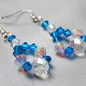 Kék kristályos hatású fülbevaló, Esküvő, Esküvői ékszer, Ékszerkészítés, Kék kristályos hatású fülbevaló  Méretei: szélessége:1,5 cm hossza:3,5 cm, Meska