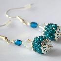 Kék csillogás, Ékszer, Fülbevaló, Ékszerkészítés, Kék csillogás  Egy kedves kis női fülbevaló sziporkázó csillogással.  Szélessége:1 cm Hossza:2,5 cm, Meska