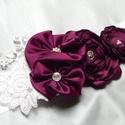 Lila romantikus menyasszonyi öv csipkével, Esküvő, Hajdísz, ruhadísz, Lila romantikus menyasszonyi öv csipkével  színe:padlizsánlila, sötétlila Méretei:hossza 2m, Meska