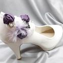 Lila menyasszonyi cipőklipsz, Esküvői cipődísz rózsákkal, Esküvő, Cipő, cipőklipsz, Lila menyasszonyi cipőklipsz, Esküvői cipődísz rózsákkal  Méretek: Hossza: max.7,5 cm Széle..., Meska