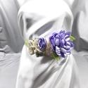 Lila rózsás öv, Virágos esküvői öv, Esküvő, Hajdísz, ruhadísz, Varrás, Vintage stílusú öv sok-sok virággal, Meska