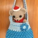 Horgolt táska kislányoknak (kék), Táska, Baba-mama-gyerek, 100% pamut fonalból horgoltam ezt a bájos kis táskát, amelyben az apróságok bárhová magukkal..., Meska