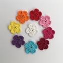 Horgolt virág szett, Dekoráció, Dísz, Horgolás, Pamut fonalból horgolt, színes virágok. Átmérőjük: 3,5 cm. A szett tartalma 9 db különböző színű vi..., Meska