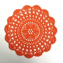 Pumpkin - horgolt terítő, Dekoráció, Otthon, lakberendezés, Lakástextil, Terítő, 100% pamut fonalból horgolt, gyönyörű mintájú, narancssárga terítő.  Átmérője: 24 cm , Meska