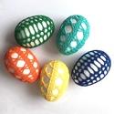 Horgolt húsvéti tojások, Dekoráció, Húsvéti díszek, Ünnepi dekoráció, Horgolás, Vidám húsvéti tojások az ünnepi asztalra, locsolóknak ajándékba vagy a barkafára. Könnyűek, nem tör..., Meska