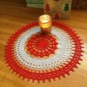 Horgolt karácsonyi terítő, Dekoráció, Karácsonyi, adventi apróságok, Ünnepi dekoráció, Karácsonyi dekoráció, 100% pamut horgolócérnából készült, gyönyörű mintájú terítő.    Átmérője: 31 cm , Meska